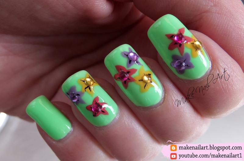 Spring Flowers Nail Art Design nail art by Make Nail Art