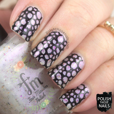 Purple shimmer flakies black pebble pattern nail art 4 thumb370f