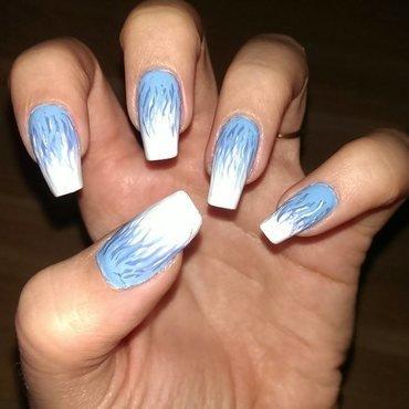 Blue flames nail art by Maria T.