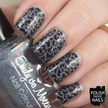 Grey glitter shimmer black abstract random pattern nail art 4 thumb370f