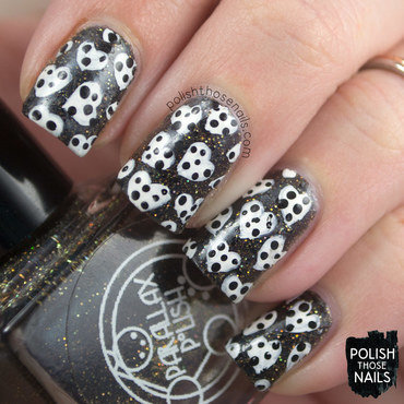 Black gold glitter white polka dot heart pattern nail art 4 thumb370f