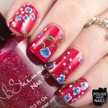 Red glitter blue floral pattern nail art 4 thumb370f