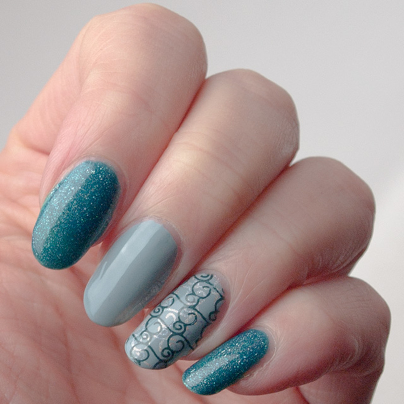Double stamped swirlies nail art by What's on my nails today?