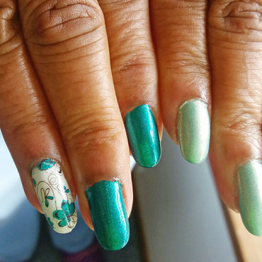 Green Love nail art by Jackie Bodick