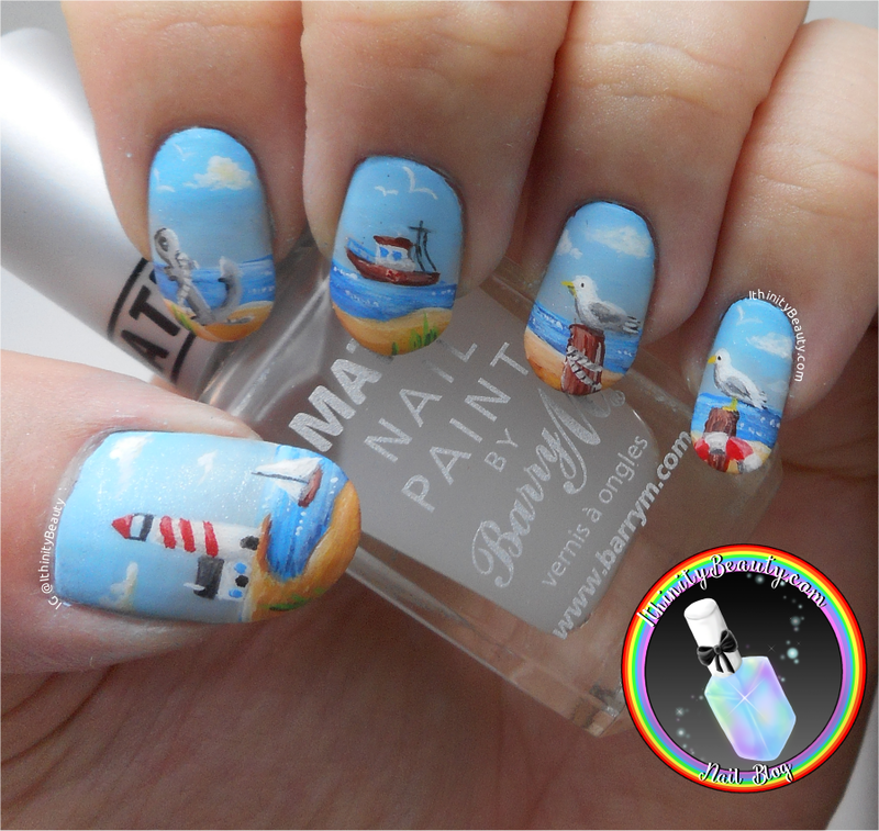 Freehand Nautical Landscape nail art by Ithfifi Williams