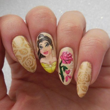 Beauty and the Beast  nail art by MaliNaila