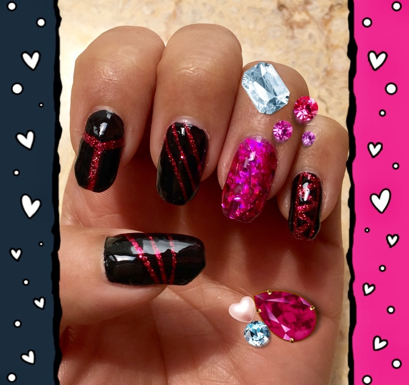 pink ruby rockerette nail art by Idreaminpolish