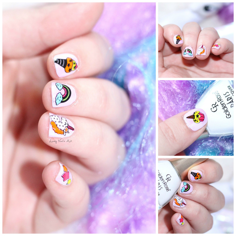 stamping au pays des licornes nail art by Lovely Nail's  Art