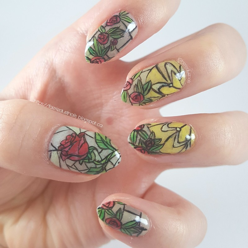 Beauty and the Beast Nails nail art by Shirley X.