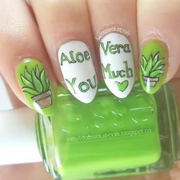 Aloe Vera Nails nail art by Shirley X.