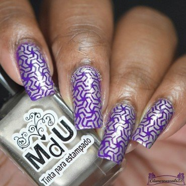 Purple & Light Gold Stamping  nail art by glamorousnails23