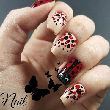 LadyBug Nails nail art by Irina Nail