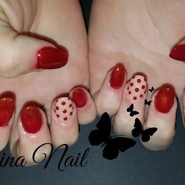Red nails nail art by Irina Nail