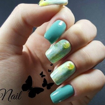 Turquoise and yellow nails nail art by Irina Nail