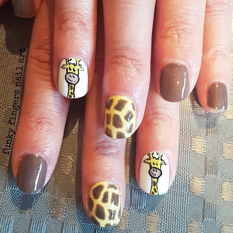 Giraffe nails nail art by Funky fingers nail art