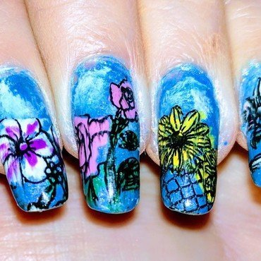 Welcome Spring nail art by Maureen Spaulding