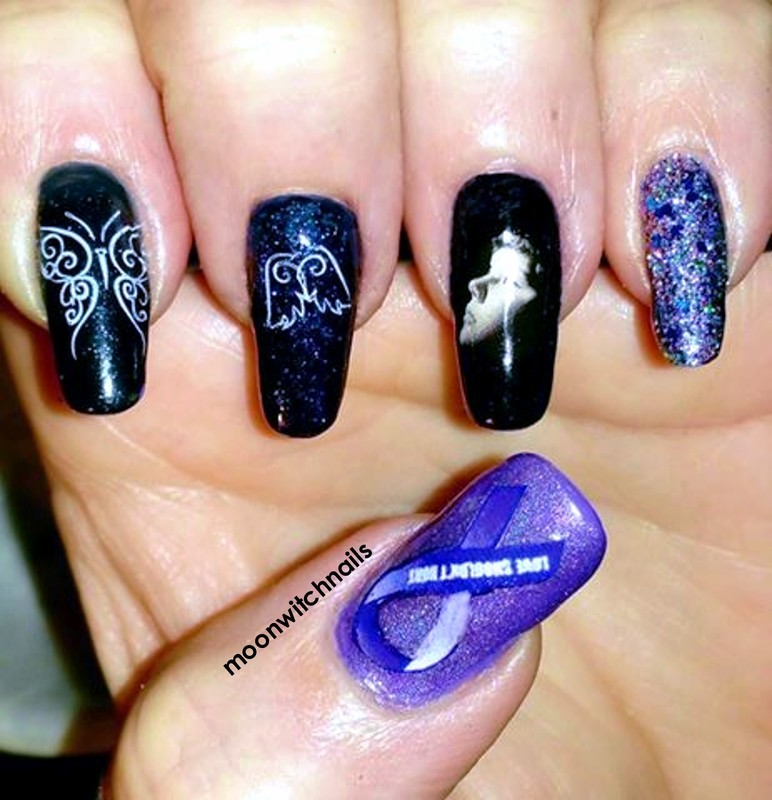 Domestic violence awareness IG collaboration  nail art by Maureen Spaulding