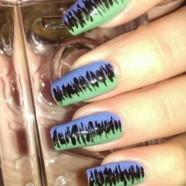 Half & Half nail art by Maria T.