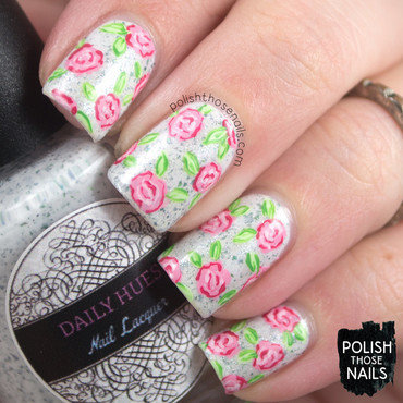 White flakies shimmer pink rose floral pattern nail art 4 thumb370f