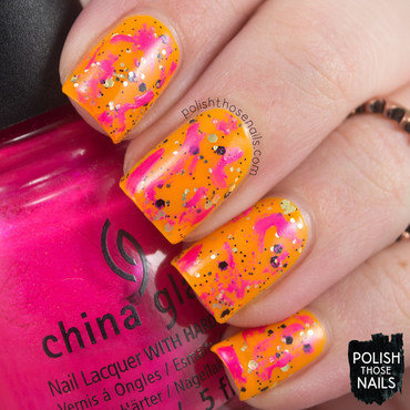 Neon orange glitter pink abstract distressed nail art 4 thumb370f