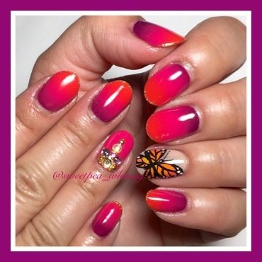 Plum Pink Orange Gradient & Butterfly nail art by SweetPea_Whimsy