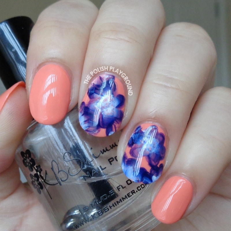 Purple and White One Stroke Inspired Floral Nail Art nail art by Lisa N