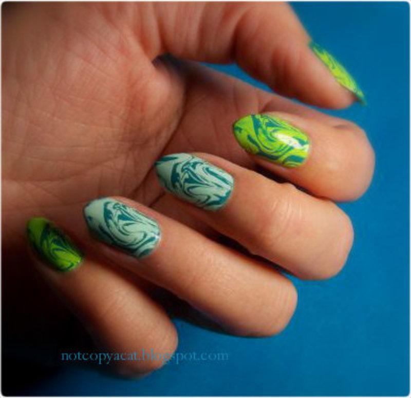 Water marble - like nail art by notcopyacat