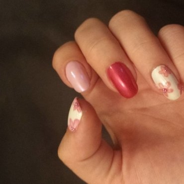 pink nail art nail art by mariejane