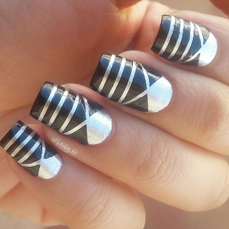 silver/black Mani nail art by nailsofkh