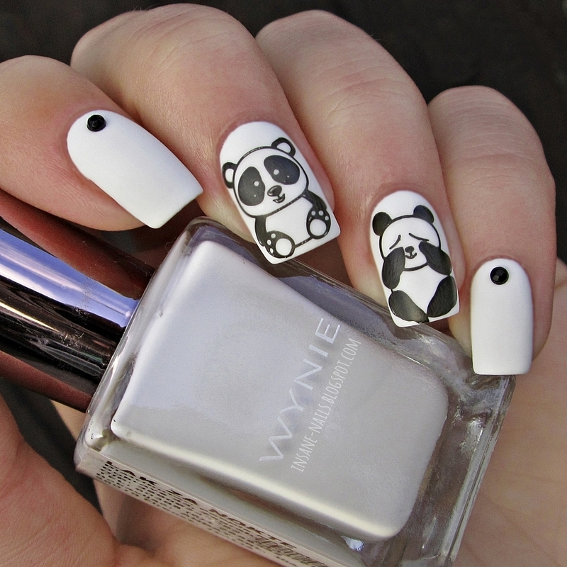 Panda nails nail art by Sanela