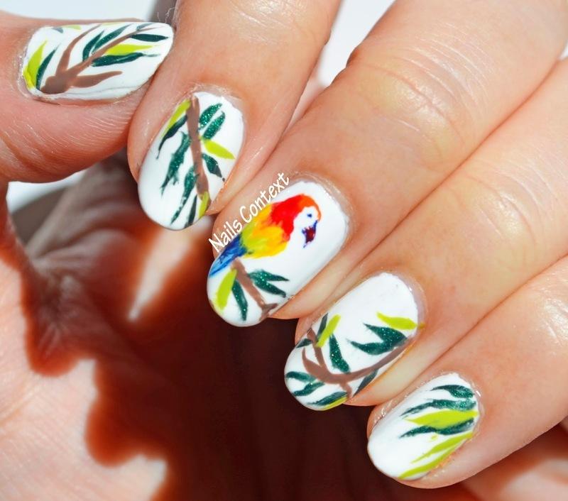 Pretty Parrot nail art by NailsContext