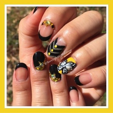 💛 Butterfly on Black, Yellow & Gray nail art by SweetPea_Whimsy