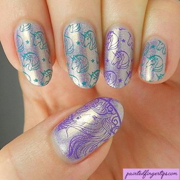 Unicorn stamped nails thumb370f