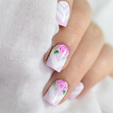 Lace & roses nail art by Marine Loves Polish