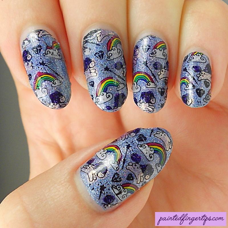 Rainbows and unicorns nail art by Kerry_Fingertips