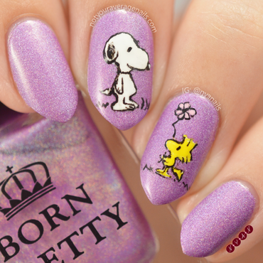 Snoopy and Woodstock nail art by Becca (nyanails)