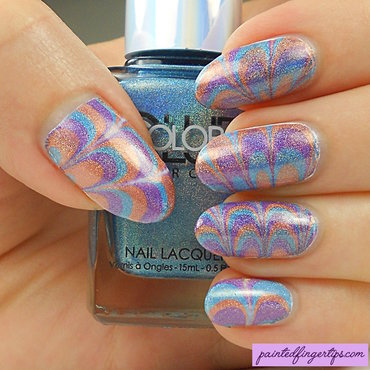 Holo water marble nail art by Kerry_Fingertips