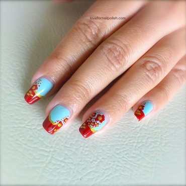 Red Flower Nail Design for Spring/Summer nail art by Demi