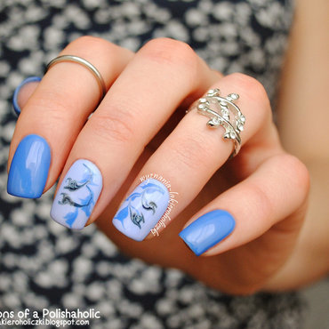 Blue flowers nail art by Olaa