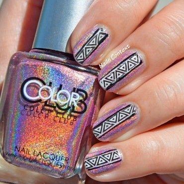 Holographic Aztech Nail Design  nail art by NailsContext