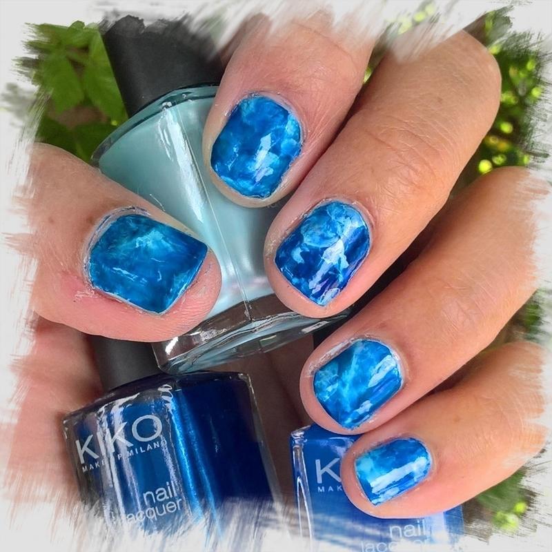 Metallic, bright and pastel blue #smooshynailsunday  nail art by Avesur Europa