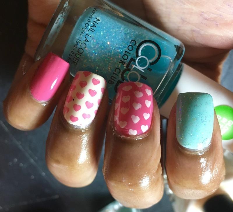 Cotton Candy Hearts nail art by Chloe Jay