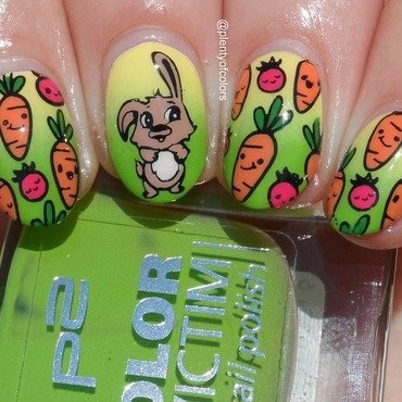 #glamnailschallengeapril Easter Bunny nail art by Plenty of Colors