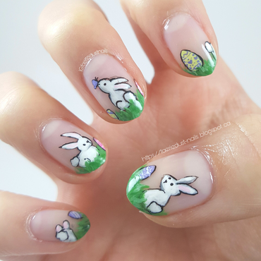 Easter Bunnies nail art by Shirley X.