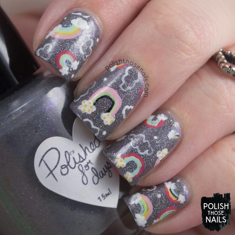 Warm Dusty Rainbows nail art by Marisa  Cavanaugh
