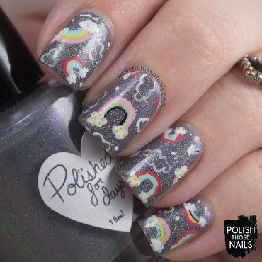 Grey sparkle rainbow pattern nail art 4 thumb370f