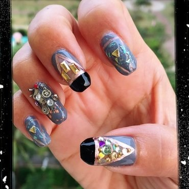 intricate machinery nail art by Idreaminpolish
