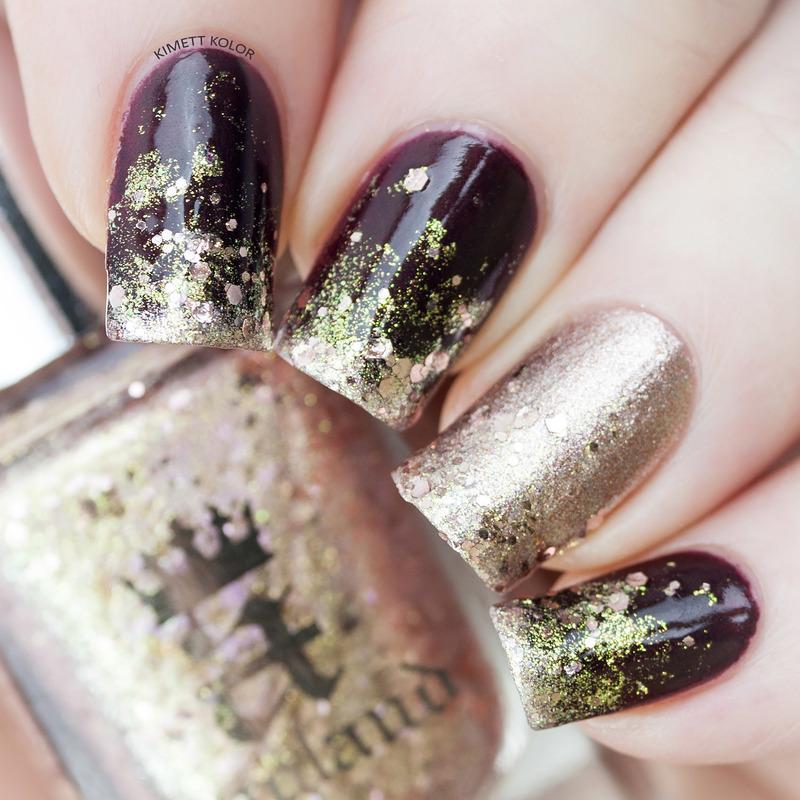 New Years Eve Glitter Gradient nail art by Kimett Kolor