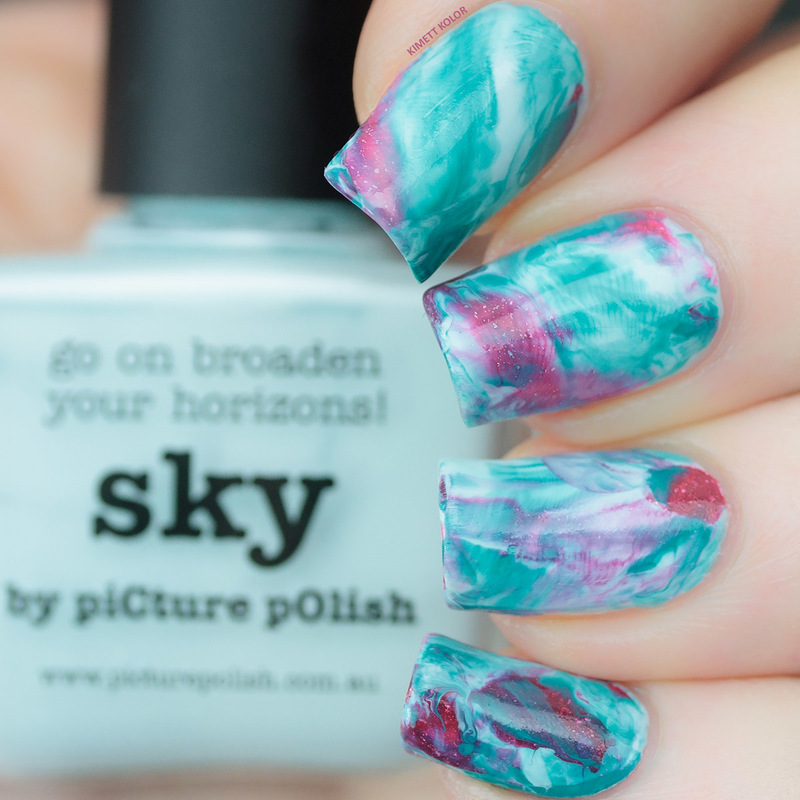 Drag Marble Smoosh for Picture Polish Challenge nail art by Kimett Kolor