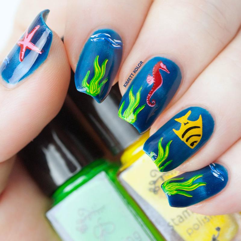 Sea Life nail art by Kimett Kolor